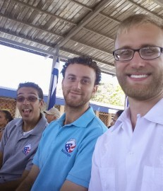 Samuel [TEFL 62], Matt [Small Business 63], and Andrew [TEFL 64] at the inauguration event