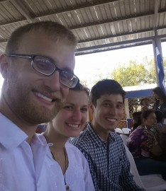 Myself [TEFL 64], Emily [TEFL 64], and Peter [Environment 64] at the inauguration event