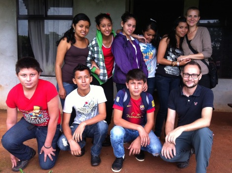 Caressa and Tim with a group of youth health promoters