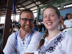 Andrew and Kari sporting their traditional Nicaraguan shirts.