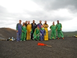 Volcano boarding crew. Andrew and Kari sled down the volcanic ash and rock of an active volcano!