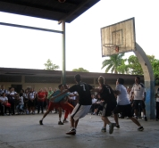 Nicaragua might be baseball country, but they still love a good game of #baloncesto especially when it's staff vs. students to raise funds at our local high school. As usual, Andrew killed it. #game on. #bloggingabroad #BAphotochallenge #games #basketball #blazers #peacecorpsnicaragua #gringon
